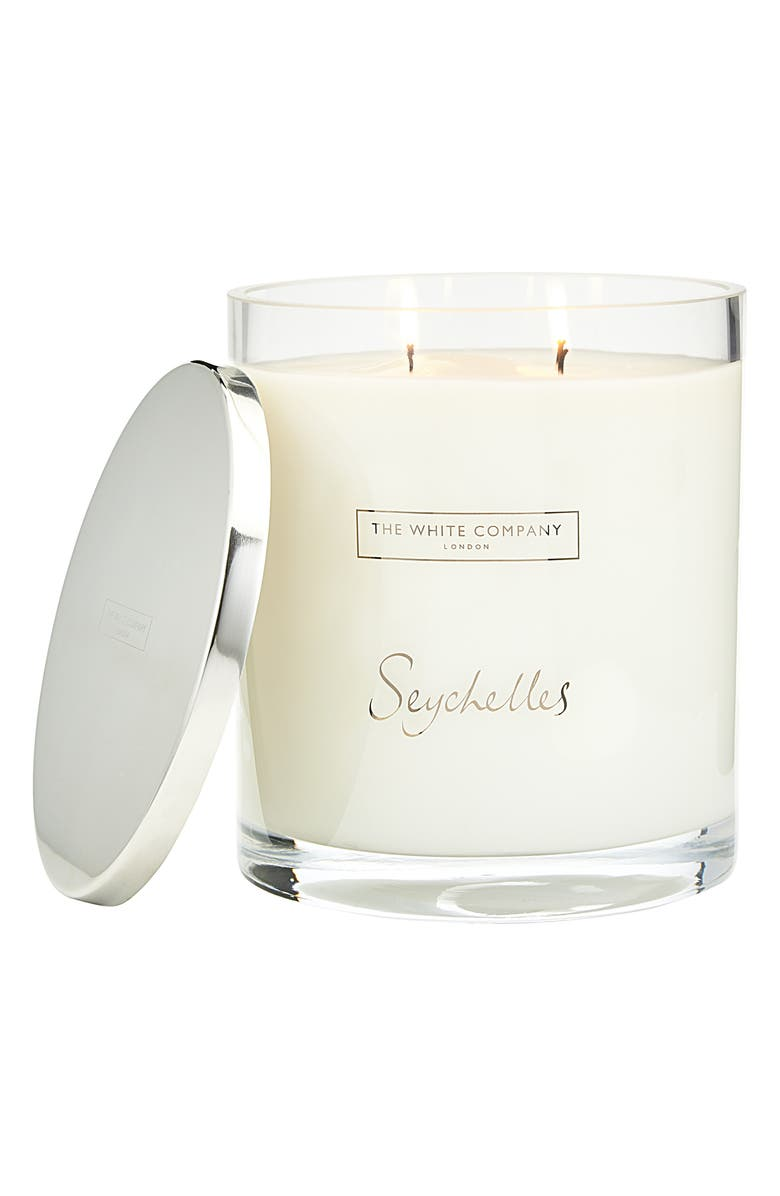 THE WHITE COMPANY Seychelles Indulgence Scented Candle, Main, color, WHITE