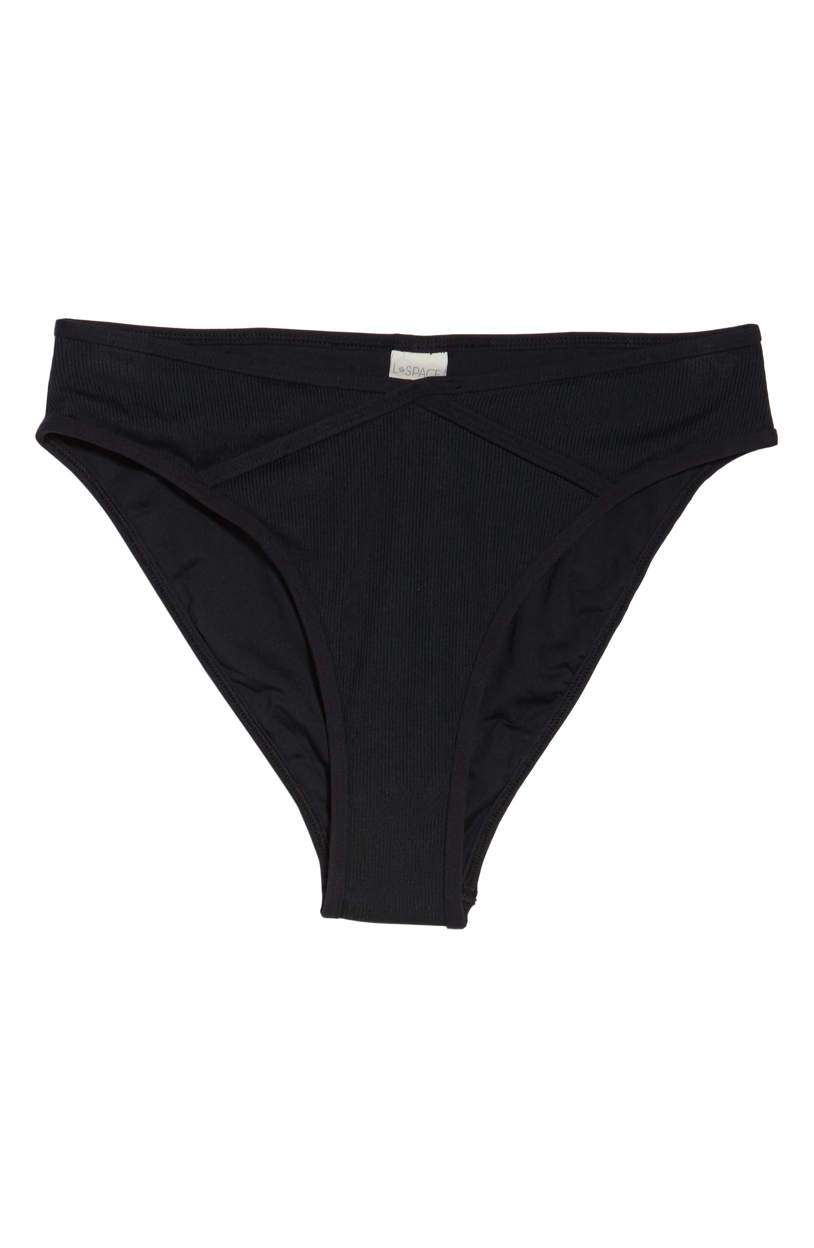,                             Fanning Bikini Bottoms,                             Alternate thumbnail 6, color,                             BLACK