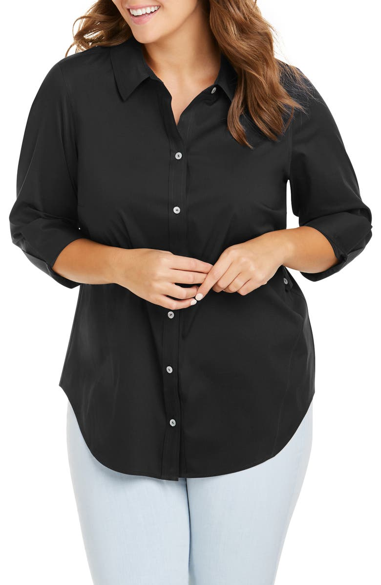 FOXCROFT Marianne Stretch Tunic Shirt, Main, color, BLACK