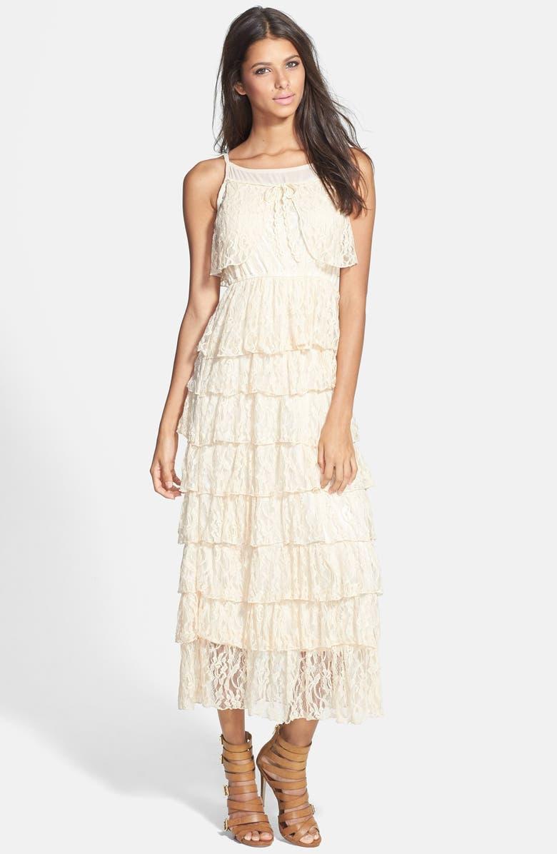 RAGA Lace Tiered Maxi Dress, Main, color, CHAMPAGNE