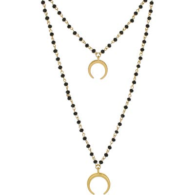 Panacea Black Crystal Layered Crescent Pendant Necklace