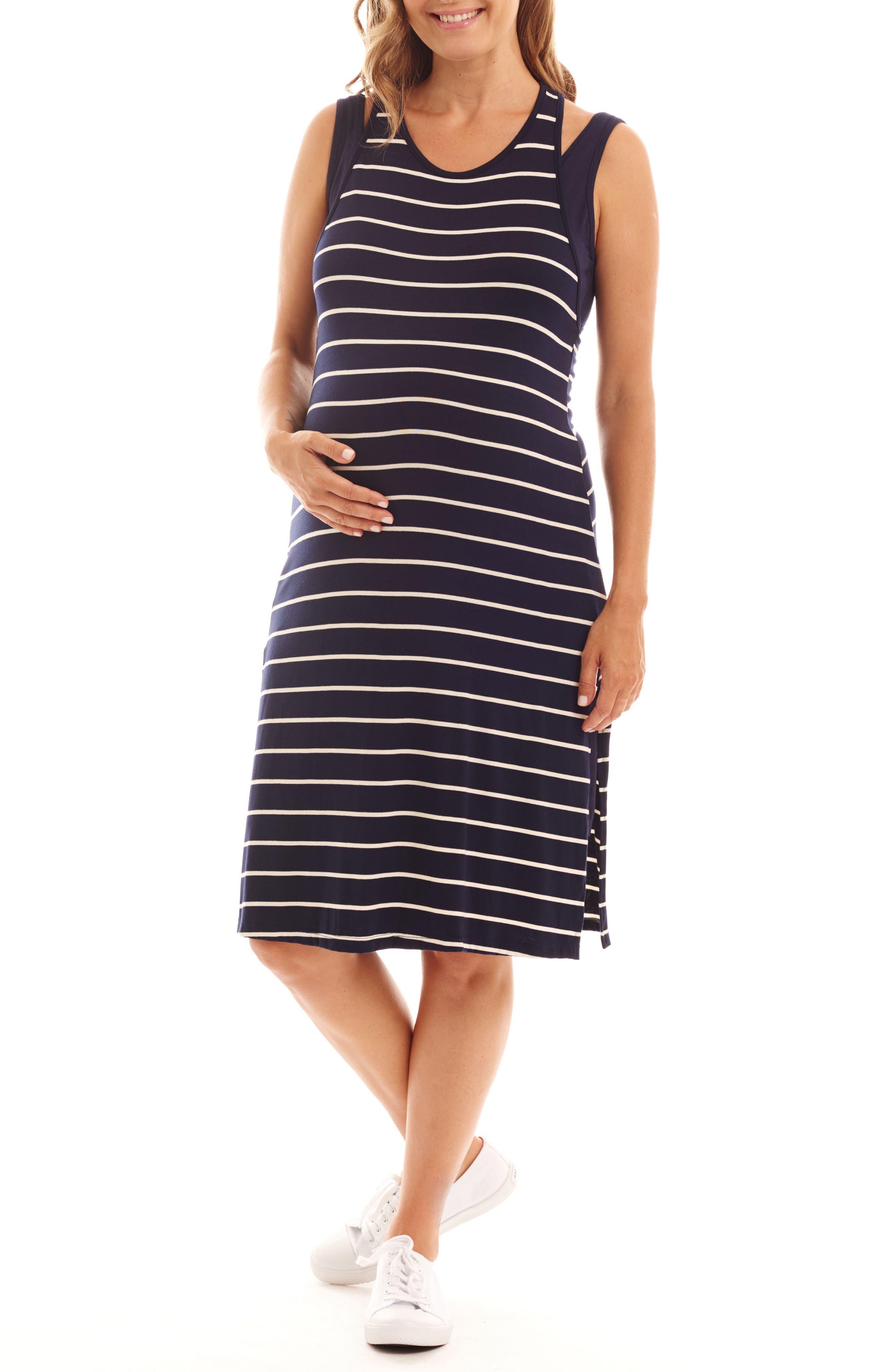 Everly Grey Alex Stripe Two-Piece Maternity/nursing Dress, Blue