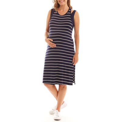 Everly Grey Alex Stripe Two-Piece Maternity/nursing Dress, Blue