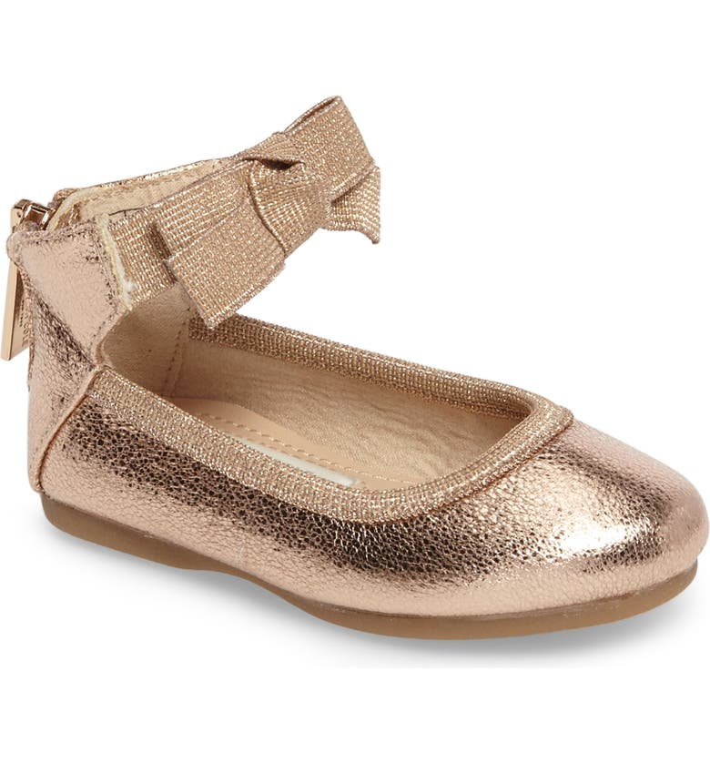 KENNETH COLE NEW YORK Rose Bow Ballet Flat, Main, color, ROSE METALLIC
