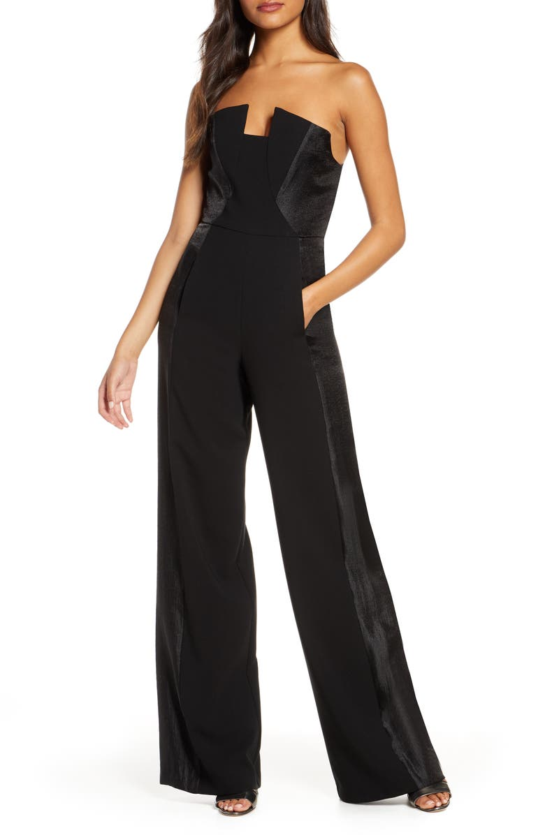 BLACK HALO Lena Strapless Jumpsuit, Main, color, BLACK BLACK
