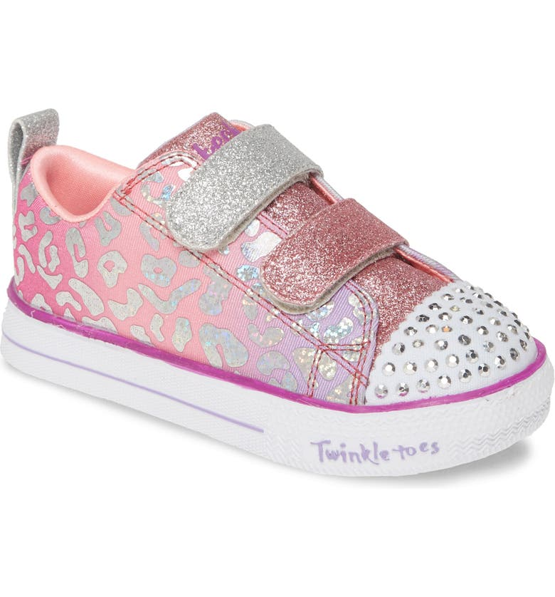 SKECHERS Twinkle Toes Shuffle Lite Glitter Light-Up Sneaker, Main, color, SILVER/ MULTI