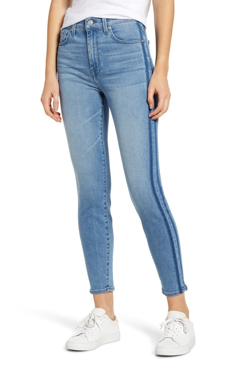 7 FOR ALL MANKIND<SUP>®</SUP> Side Stripe High Waist Ankle Skinny Jeans, Main, color, BONAVENTURE