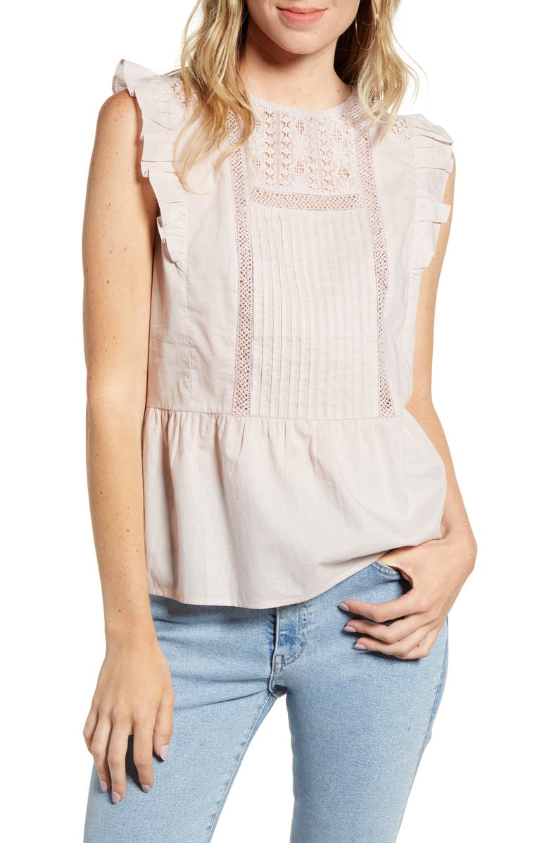 HINGE Pintuck & Lace Blouse, Main, color, PINK ANTIQUE