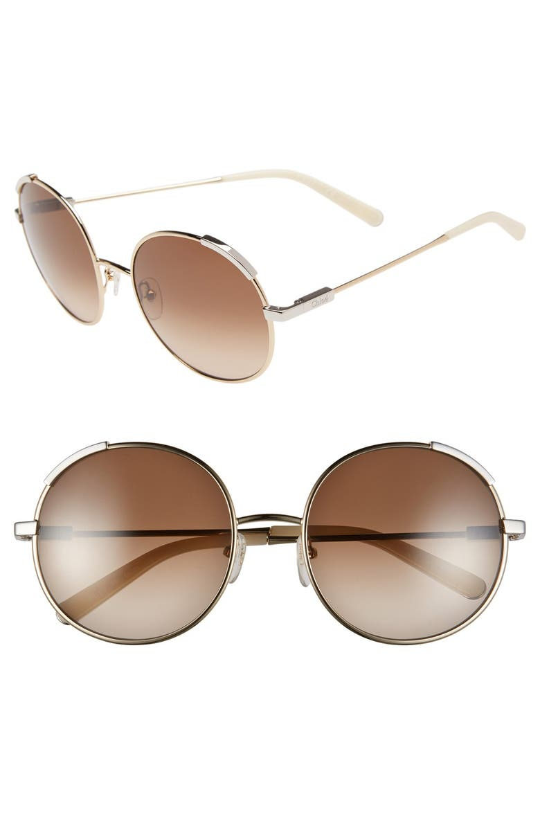 CHLOÉ 'Nerine' 56mm Round Sunglasses, Main, color, 710