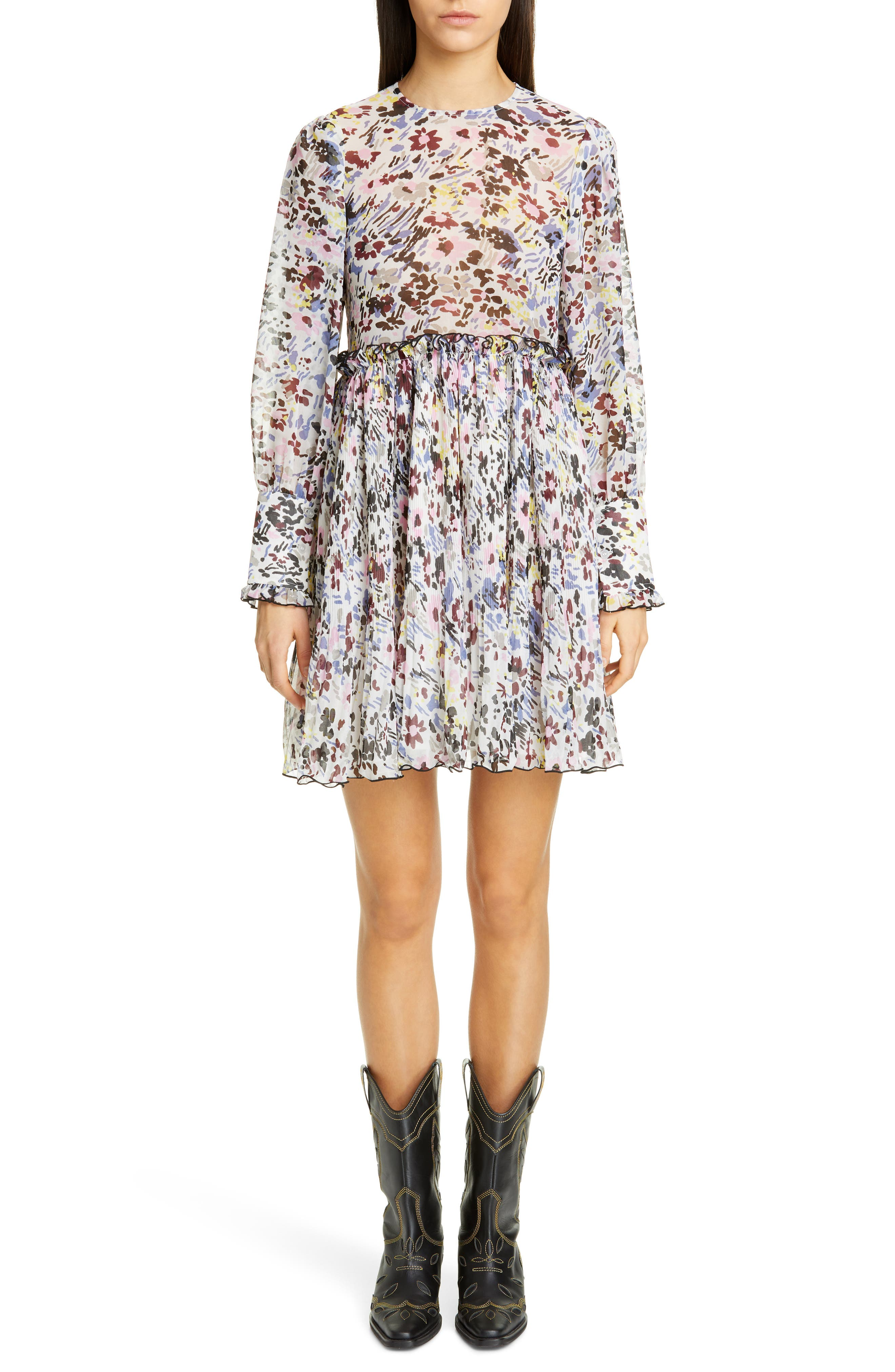 Ganni Long Sleeve Floral Print Georgette Dress, US / 4 - Ivory