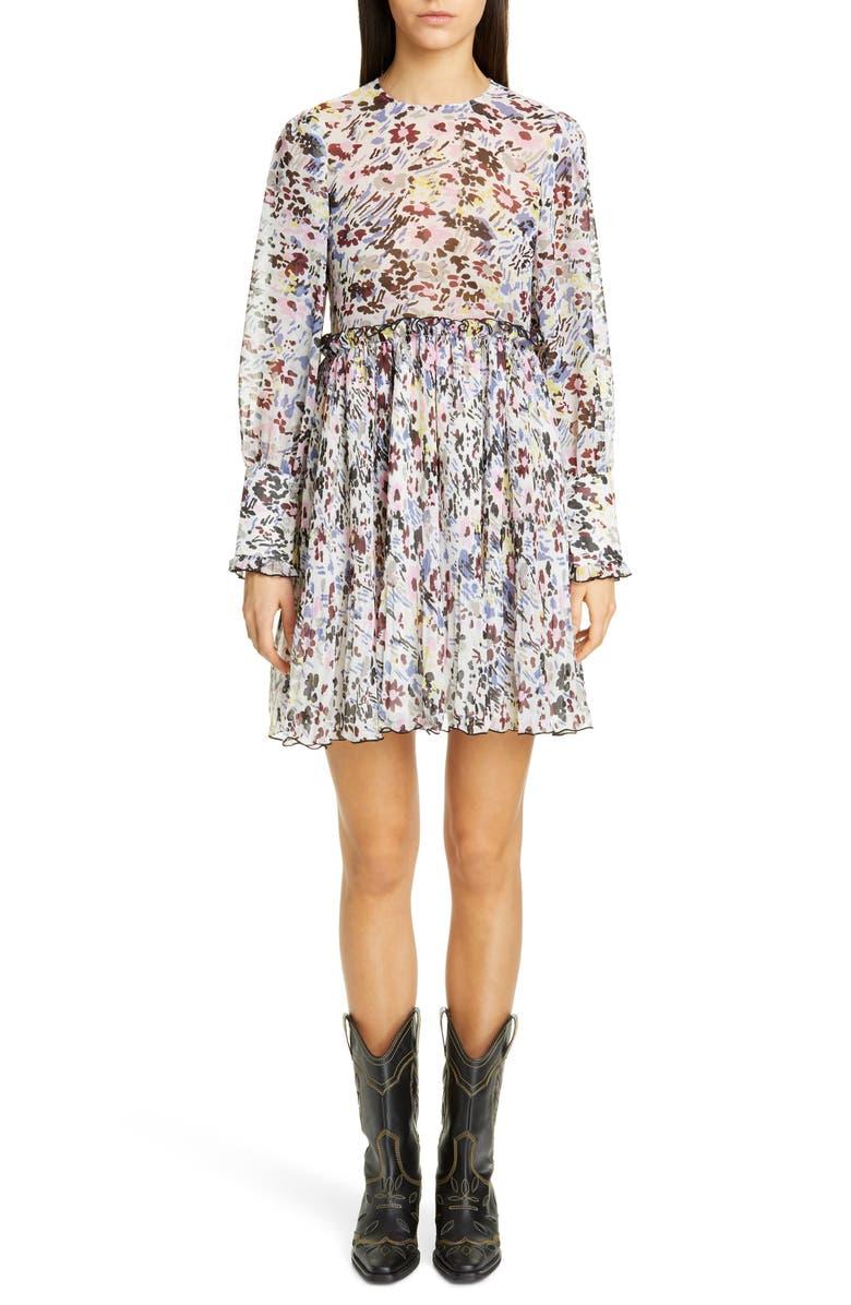 GANNI Long Sleeve Floral Print Georgette Dress, Main, color, EGRET