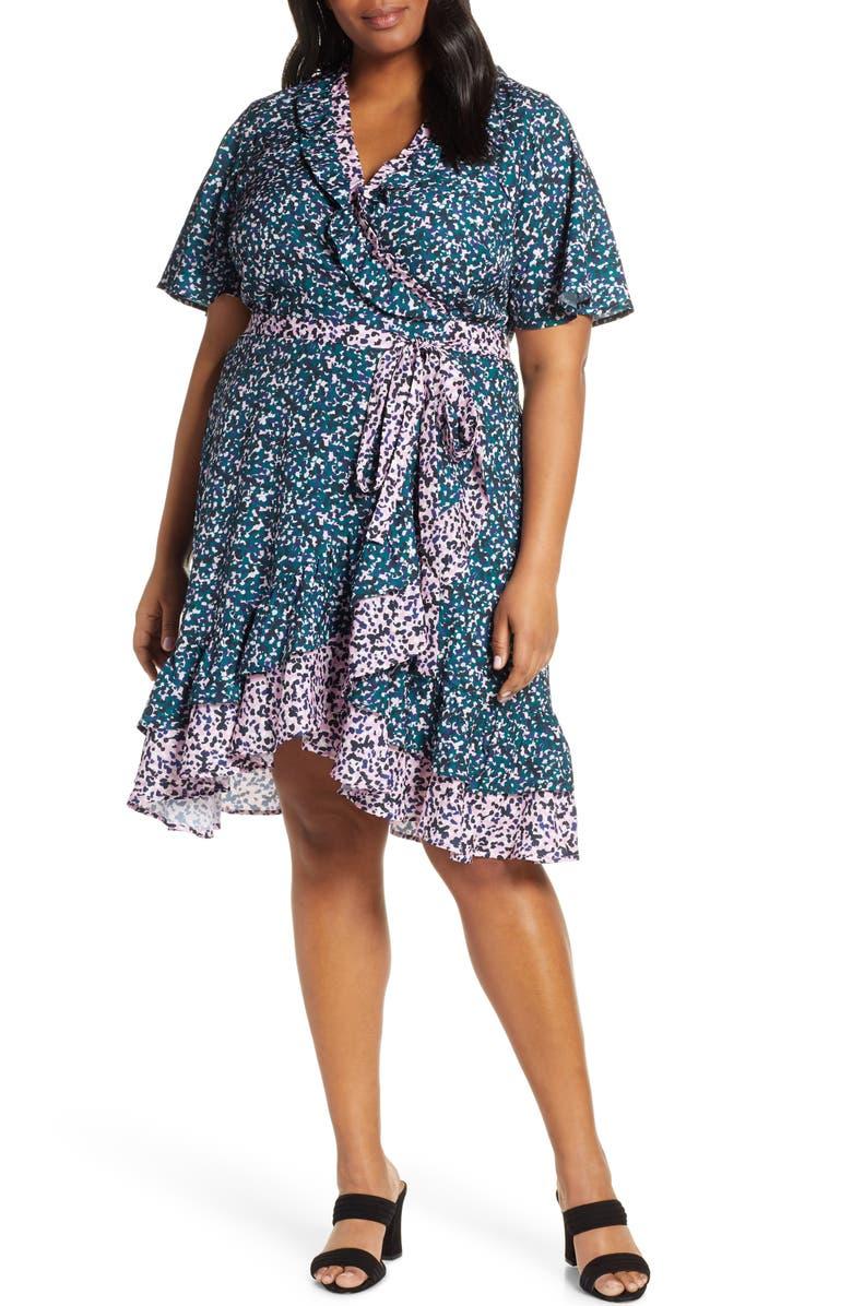 ELOQUII Contrast Ruffle Trim Wrap Dress, Main, color, 400