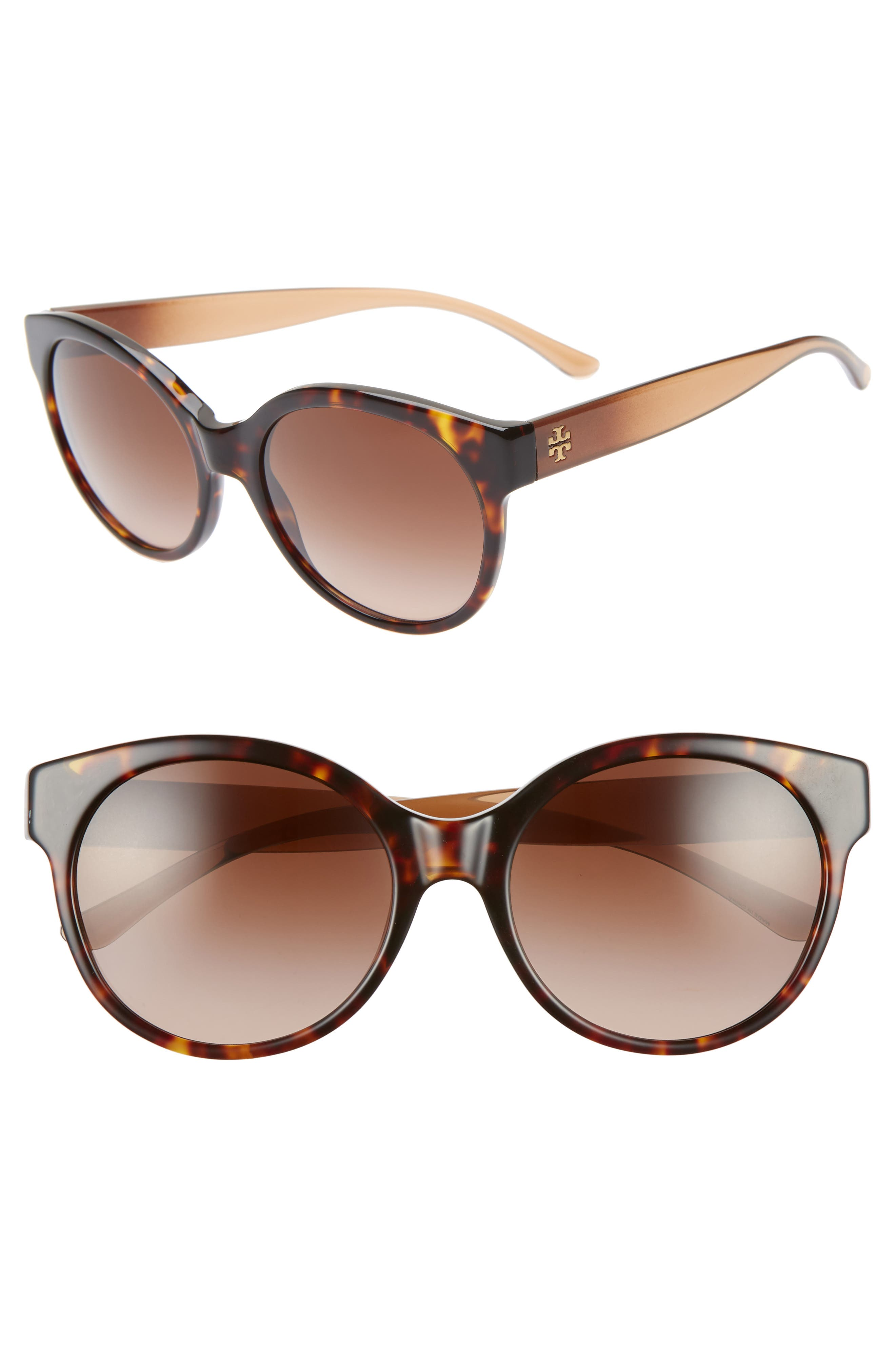 e85915142dc5 Tory Burch Stacked T 55Mm Round Sunglasses - Dark Tortoise/ Brown Gradient