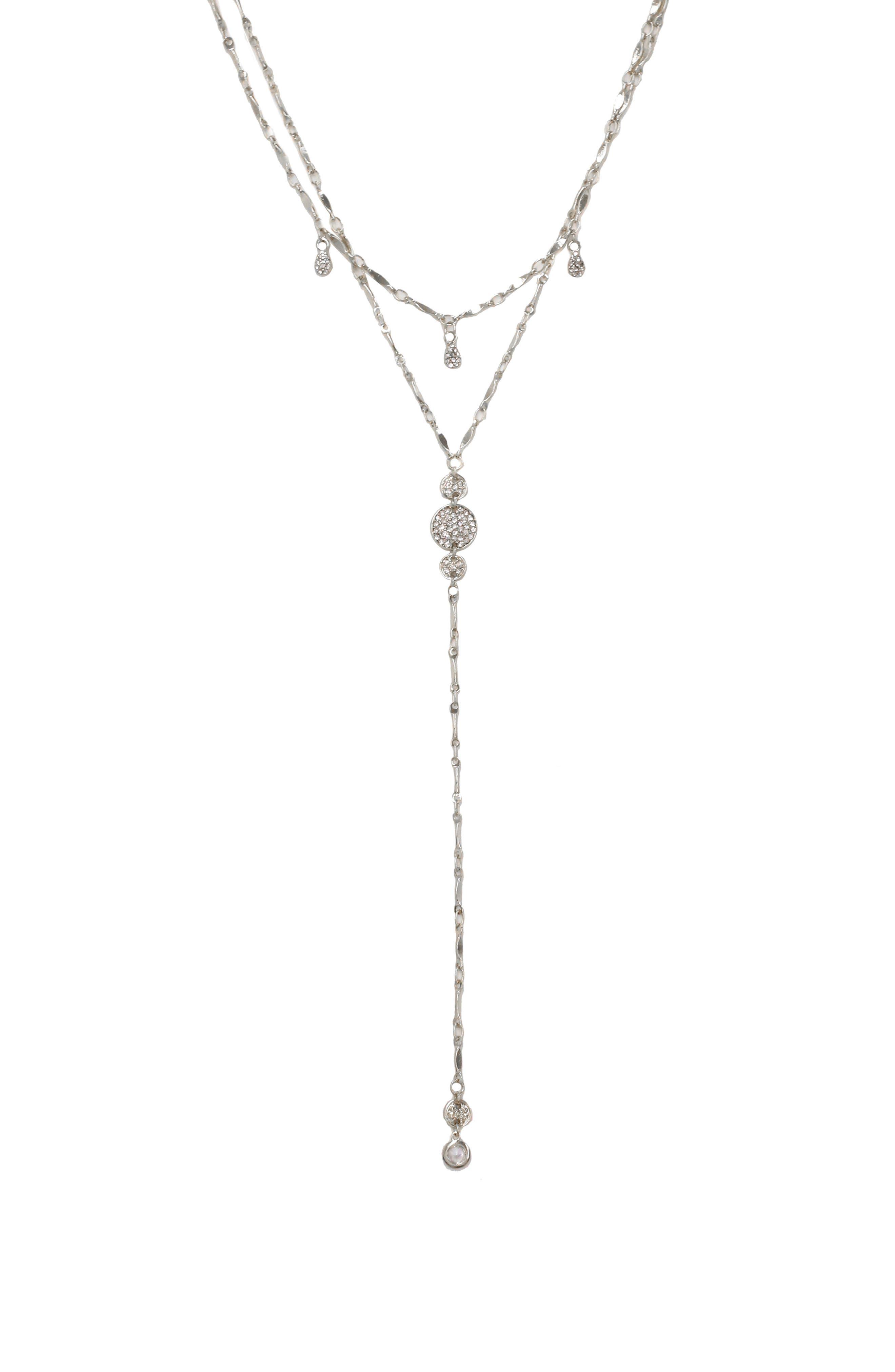 Layered Cubic Zirconia Lariat Necklace