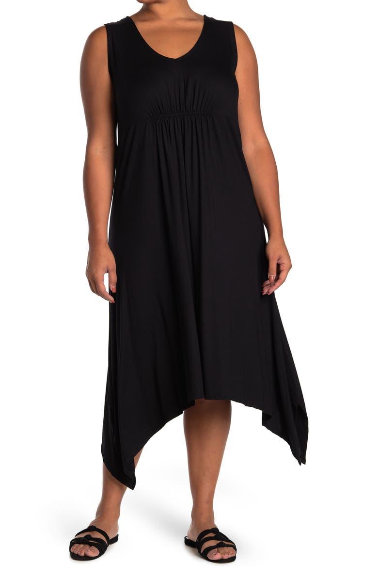 FORGOTTEN GRACE V-Neck Empire Waist Dress, Main, color, BLACK