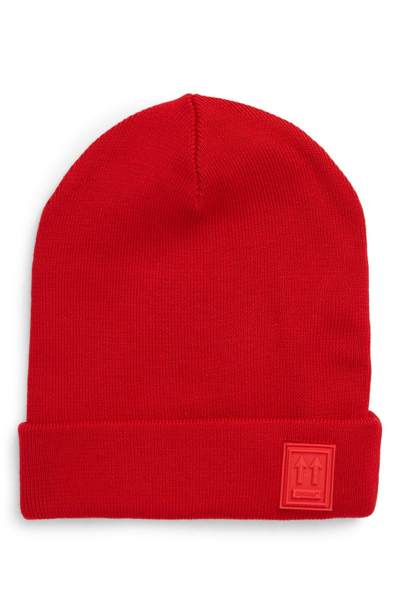 OFF-WHITE Logo Patch Wool Beanie, Main, color, RED