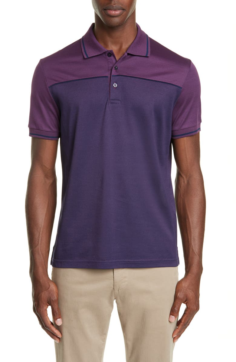 CANALI Colorblock Cotton Polo Shirt, Main, color, PURPLE