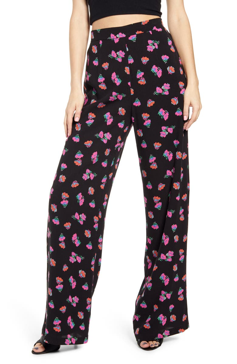 WAYF Floral Wide Leg Pants, Main, color, BLACK PETAL