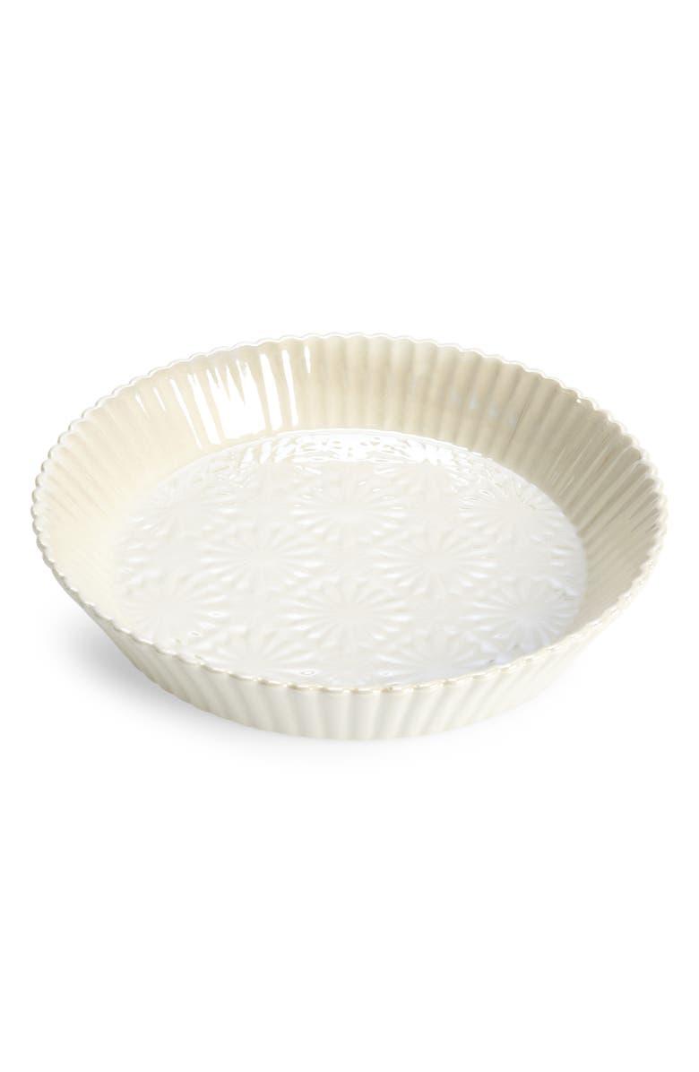 ANTHROPOLOGIE HOME Aurora Stoneware Pie Dish, Main, color, WHITE