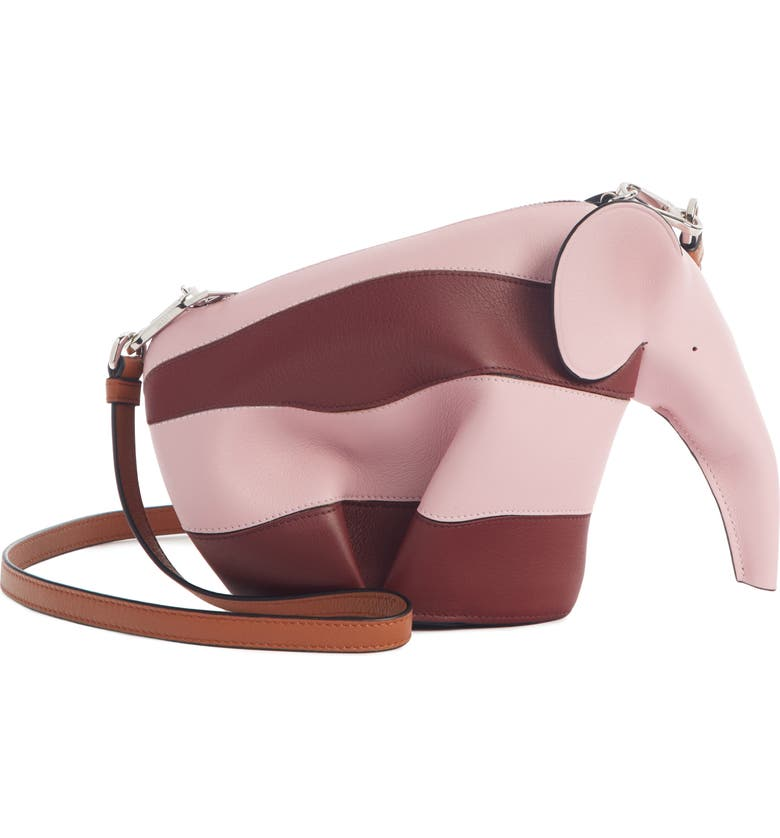 LOEWE Rugby Stripe Elephant Calfskin Leather Crossbody Bag, Main, color, PASTEL PINK/ WINE