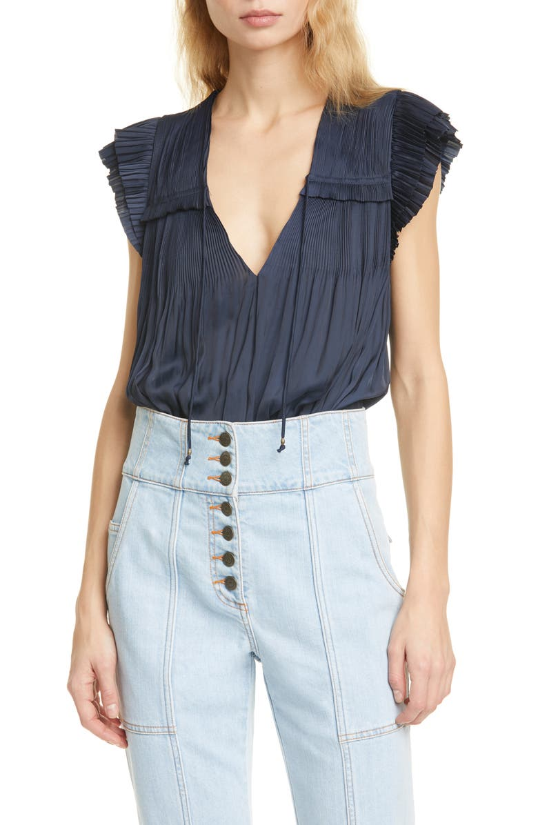 ULLA JOHNSON Freya Shirred Blouse, Main, color, MIDNIGHT