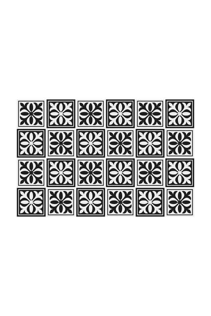 "Image of WalPlus Emma Monocromatic Black Victorian Wall Tile Sticker Set - 15cm x 15 cm (6"" x 6"") - 24-Piece"