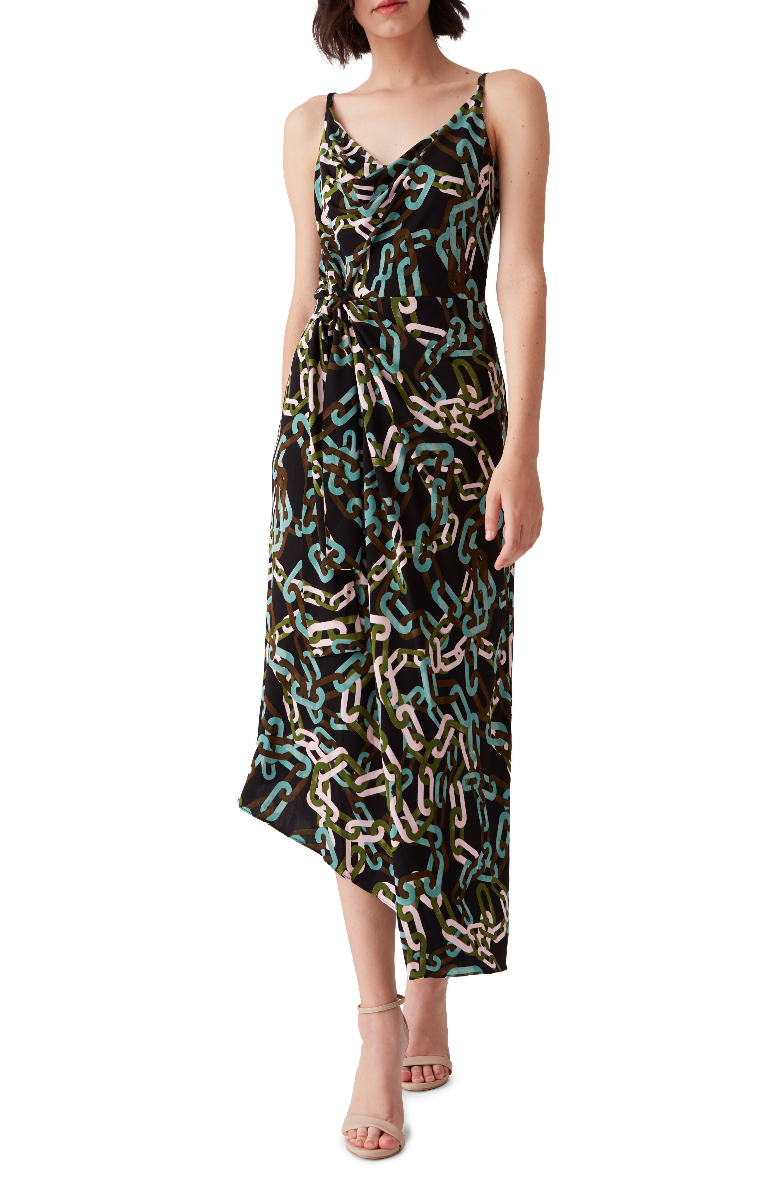 Amy Chain Print Asymmetrical Tie Dress