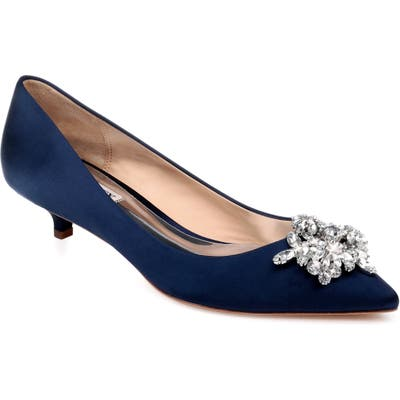 Badgley Mischka Vail Embellished Kitten Heel Pump, Blue
