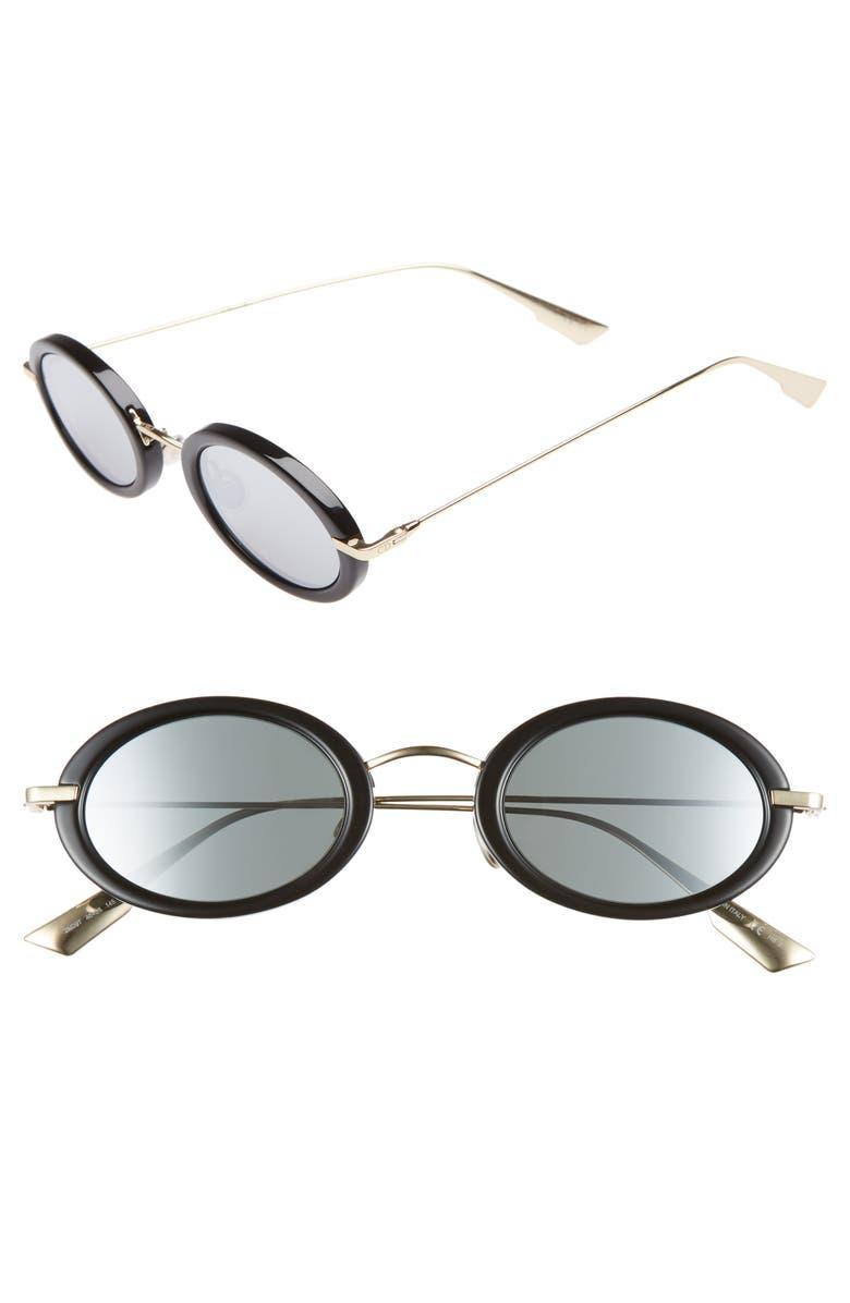 DIOR Christian Dior Hypnotic2 46mm Round Sunglasses, Main, color, BLACK GOLD/ GREY SILVER
