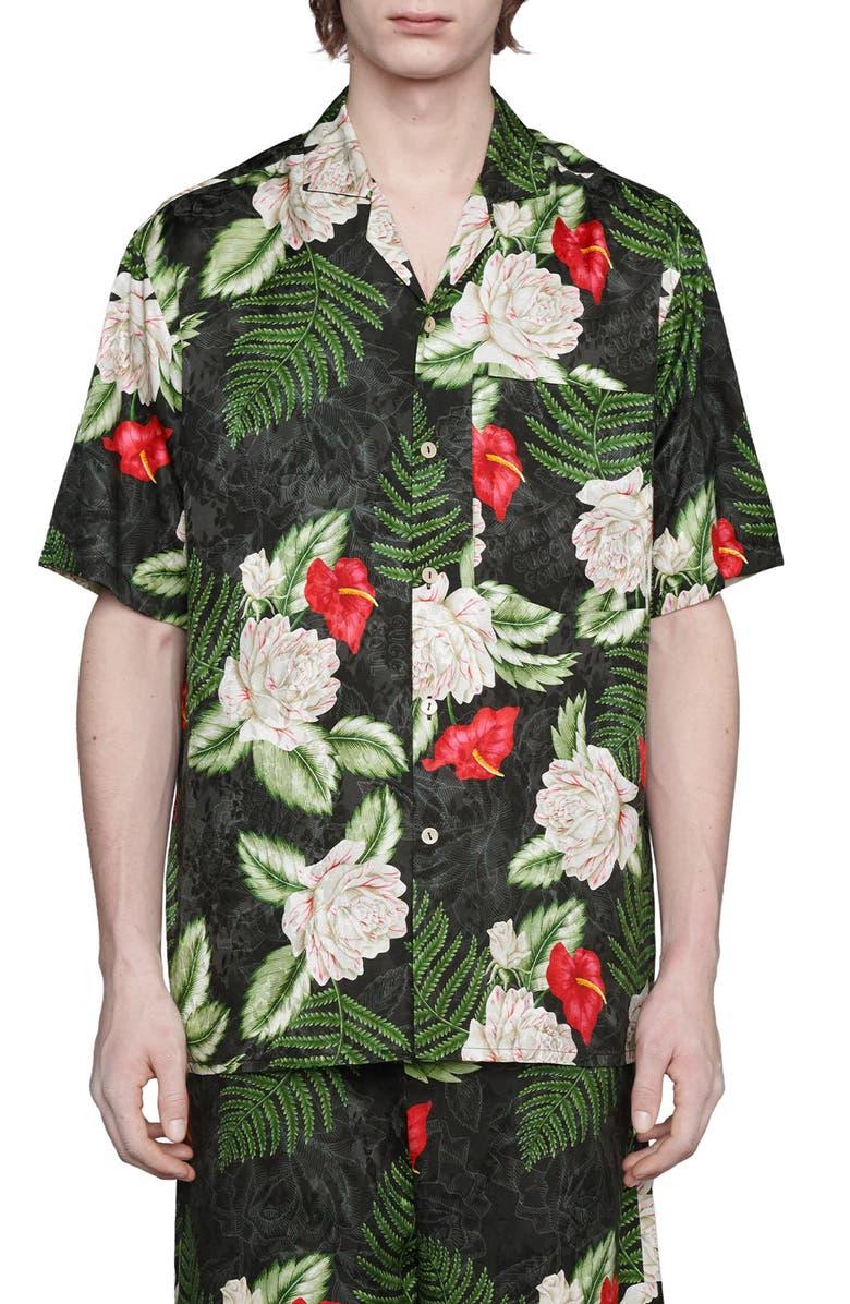 GUCCI Hawaiian Dream Short Sleeve Button-Up Shirt, Main, color, BLACK/ GREEN/ MC