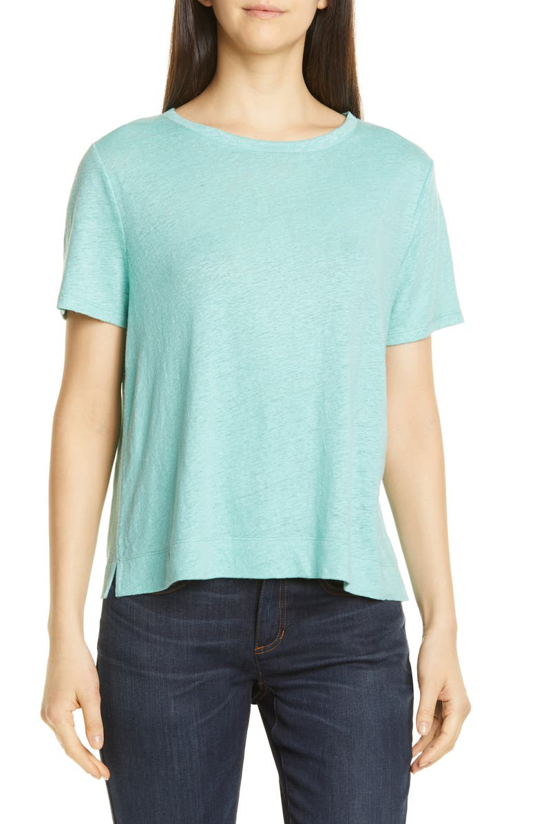 EILEEN FISHER Crewneck Organic Linen Tee, Main, color, 485