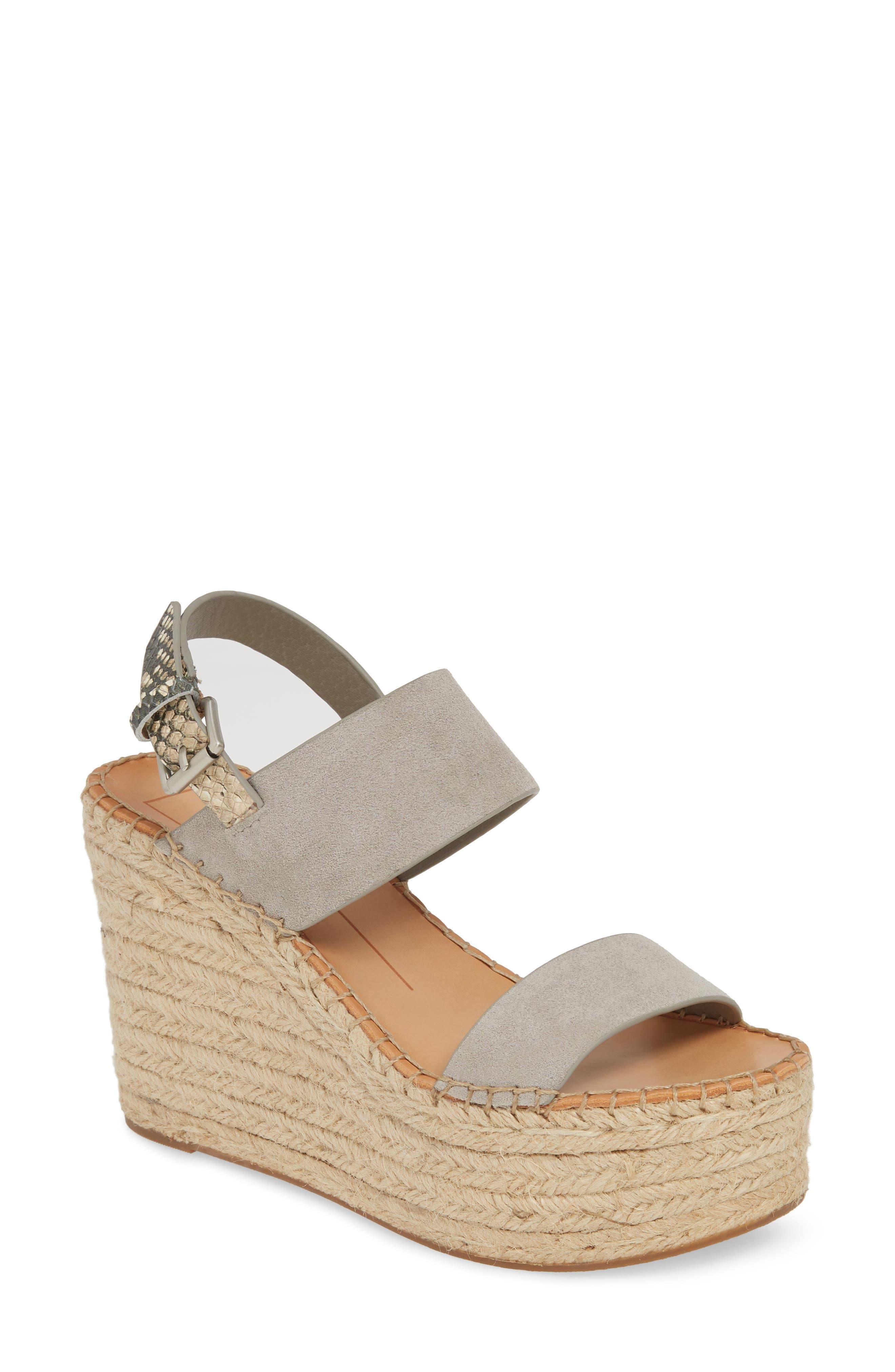 Dolce Vita Spiro Platform Wedge Sandal, Grey