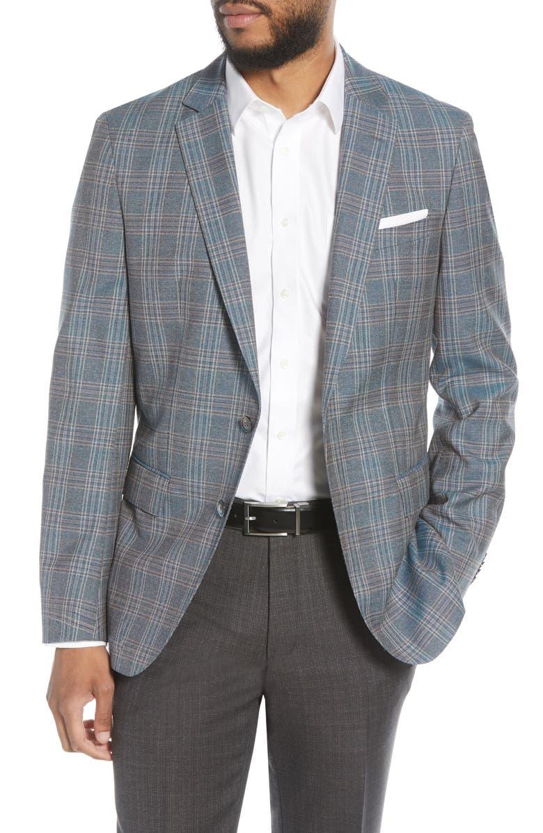BOSS Hartlay Trim Fit Plaid Wool Sport Coat, Main, color, DARK BLUE