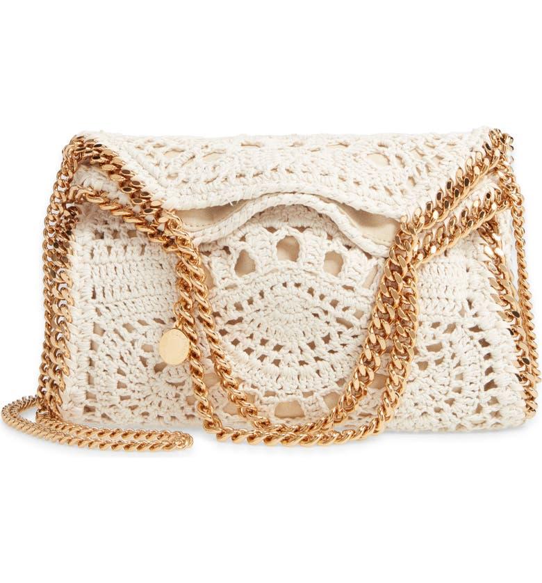 STELLA MCCARTNEY Mini Falabella Crochet Shoulder Bag, Main, color, BUTTER CREAM