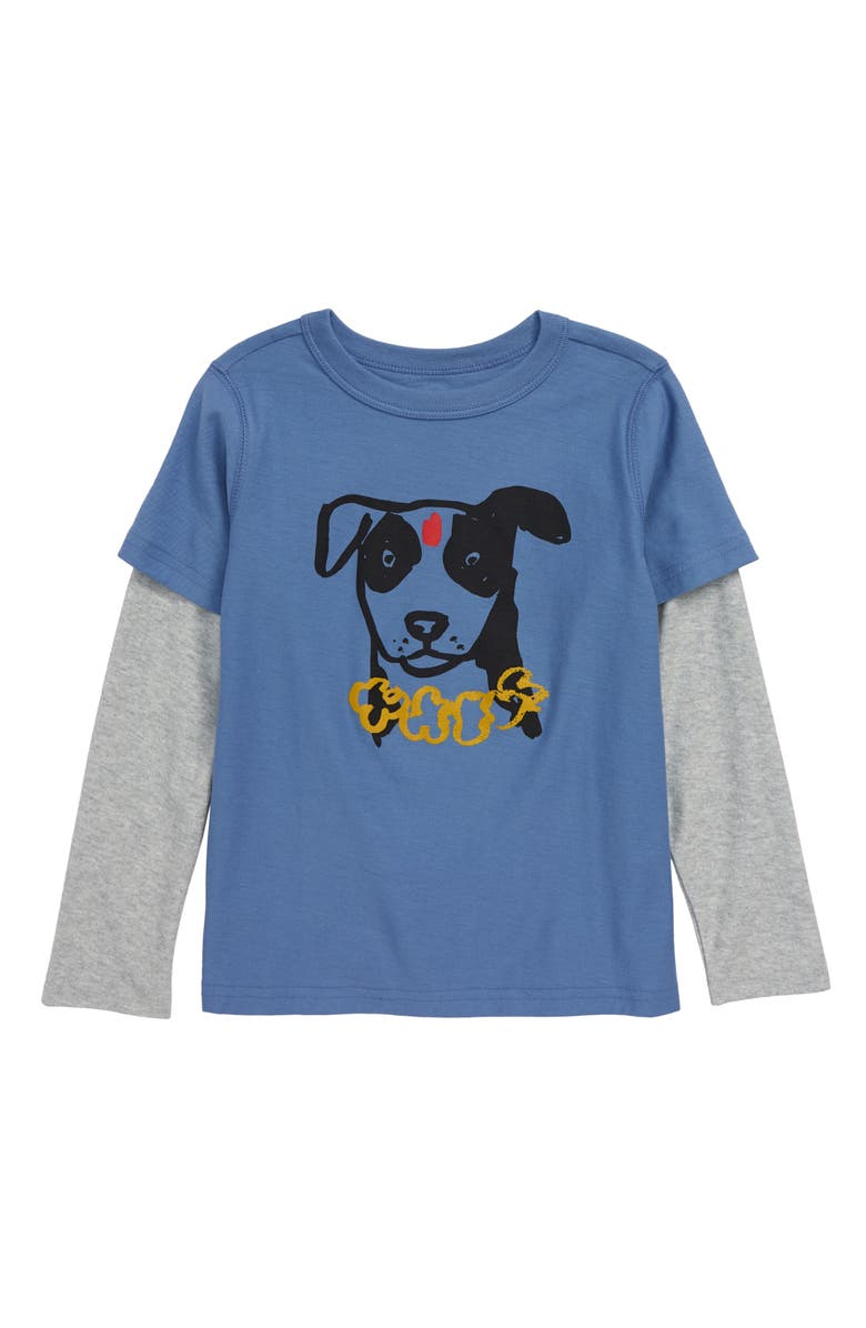 TEA COLLECTION Dog Graphic Layered Sleeve T-Shirt, Main, color, FRENCH BLUE