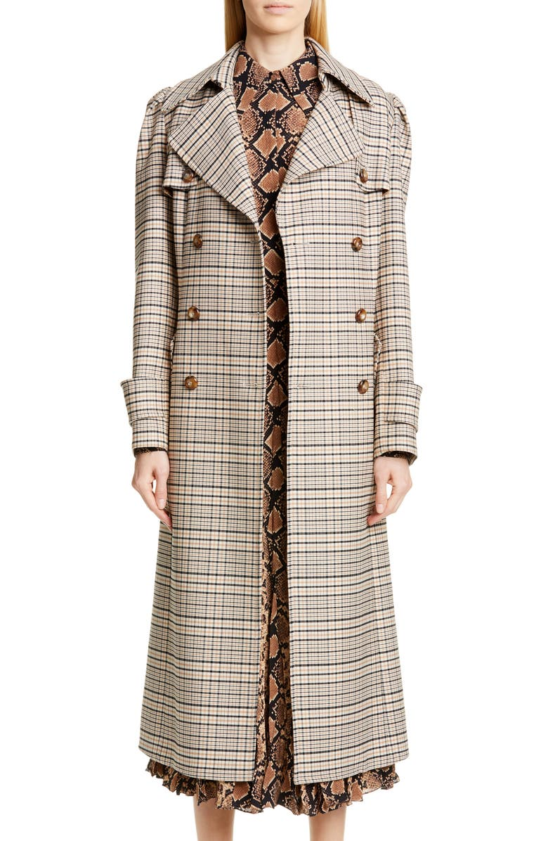 MICHAEL KORS COLLECTION Michael Kors Puff Sleeve Plaid Trench Coat, Main, color, SUNTAN/ BLACK