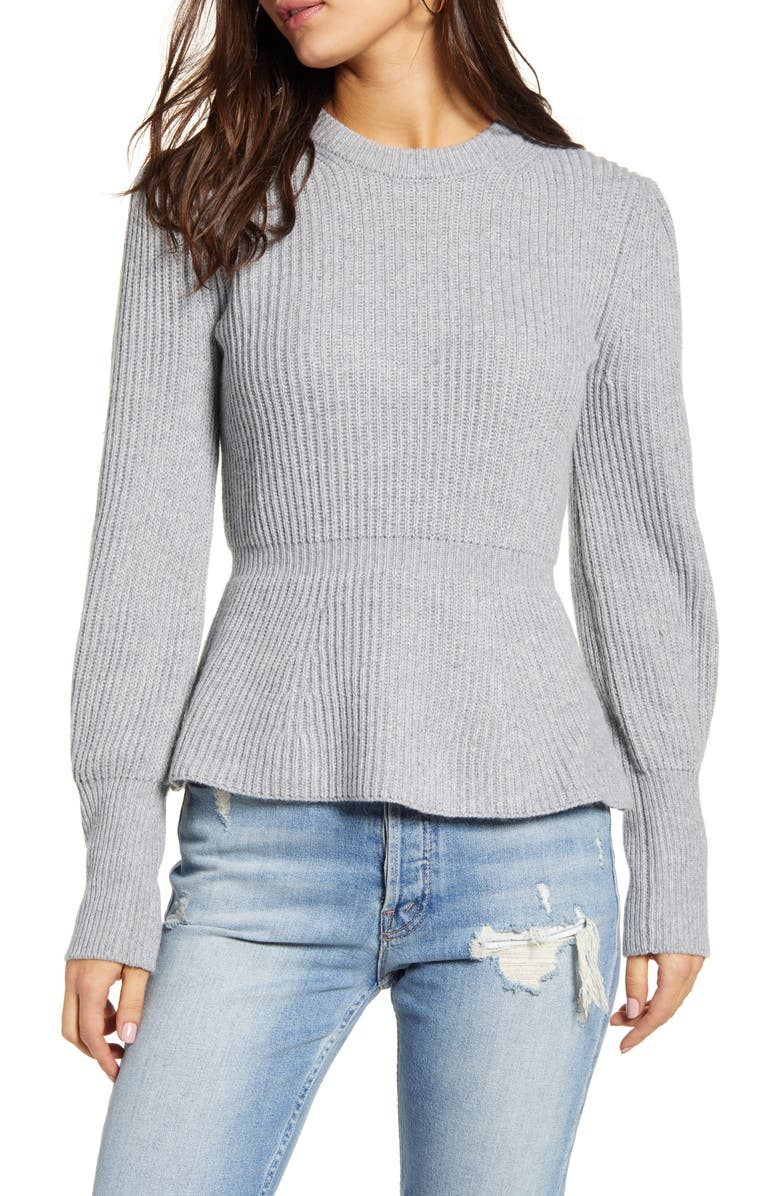 ENGLISH FACTORY Balloon Sleeve Peplum Sweater, Main, color, GREY