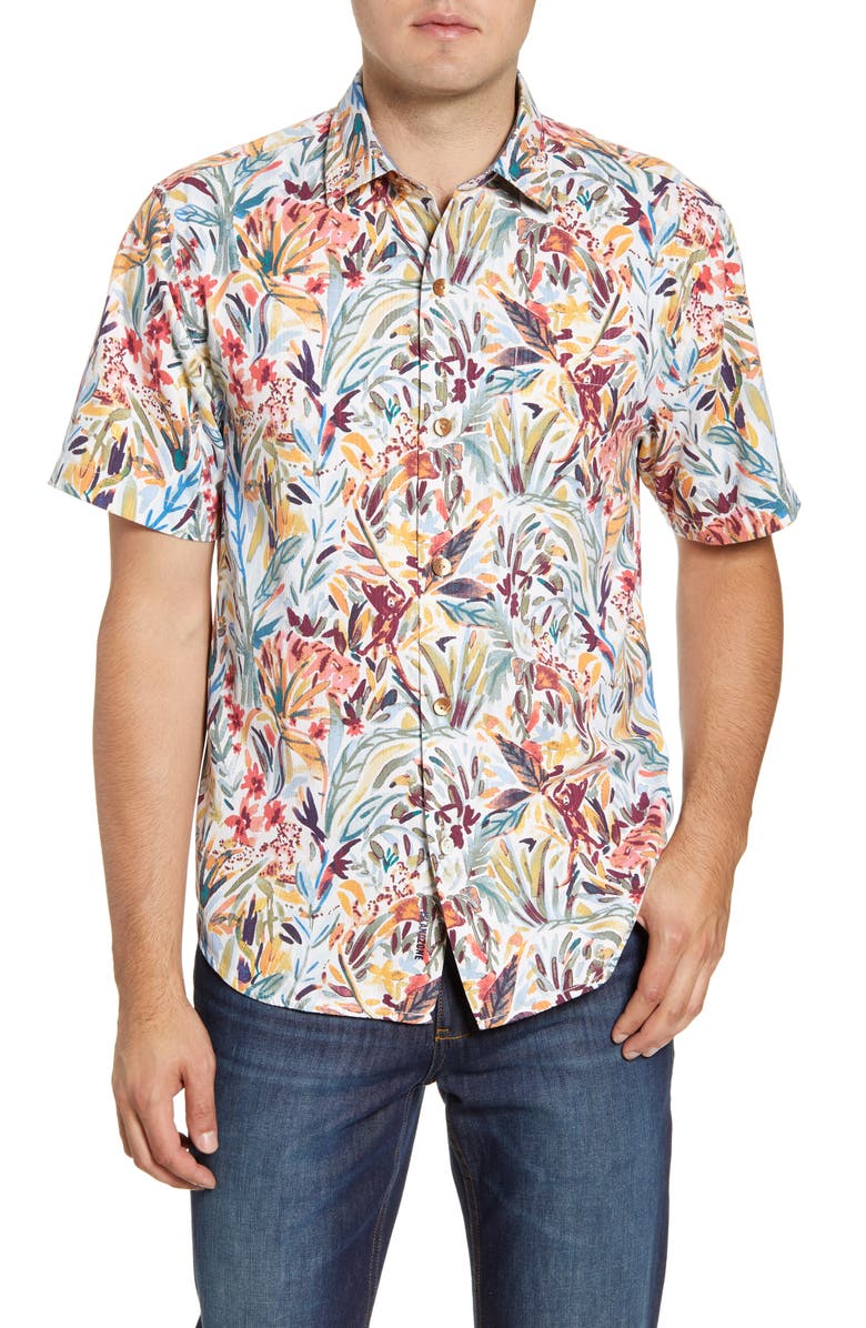 TOMMY BAHAMA Bongo Palms Classic Fit Short Sleeve Button-Up Silk Blend Shirt, Main, color, COCONUT CREAM