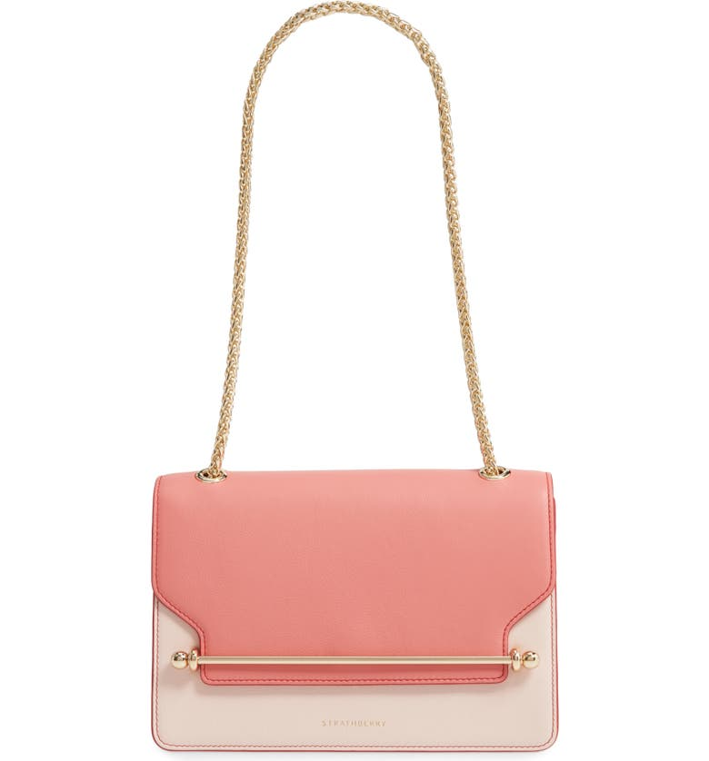 STRATHBERRY East/West Colorblock Leather Shoulder Bag, Main, color, SALMON/ SOFT PINK