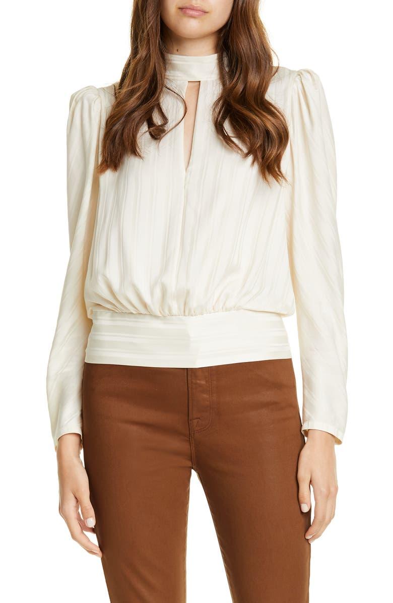 FRAME Jacquard Stripe Keyhole Silk Long Sleeve Blouse, Main, color, 120