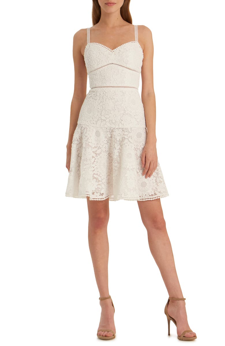 ML MONIQUE LHUILLIER Floral Lace Party Dress, Main, color, 100