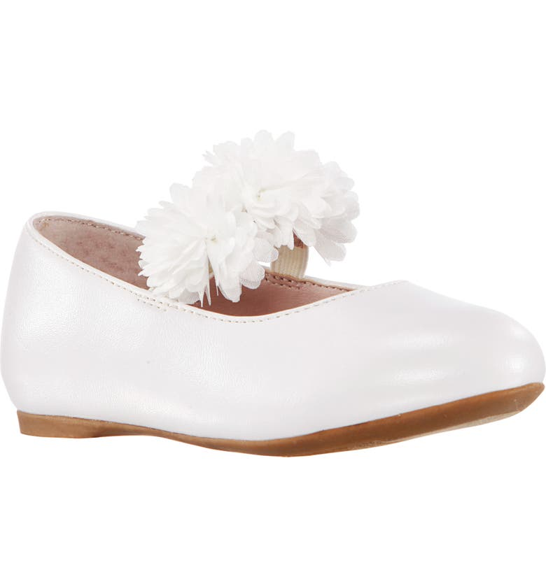 NINA Medina Flower Ballet Flat, Main, color, WHITE PEARLIZED