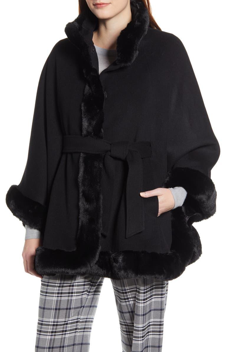 ELLEN TRACY Wool Blend Cape Coat with Faux Fur Trim, Main, color, BLACK