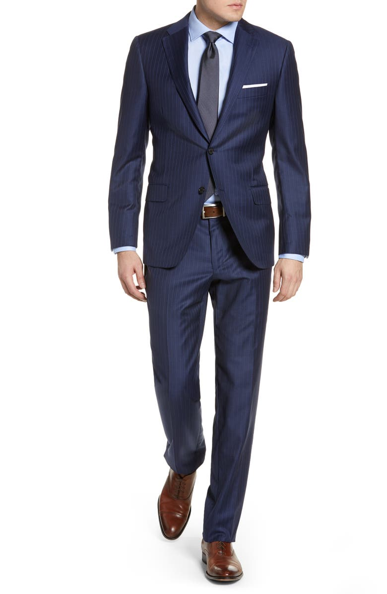 HICKEY FREEMAN Classic B Fit Stripe Wool Suit, Main, color, 400