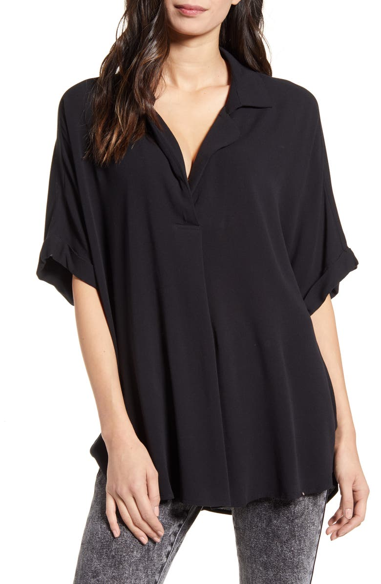 ALL IN FAVOR Button Back Short Sleeve Shirt, Main, color, BLACK
