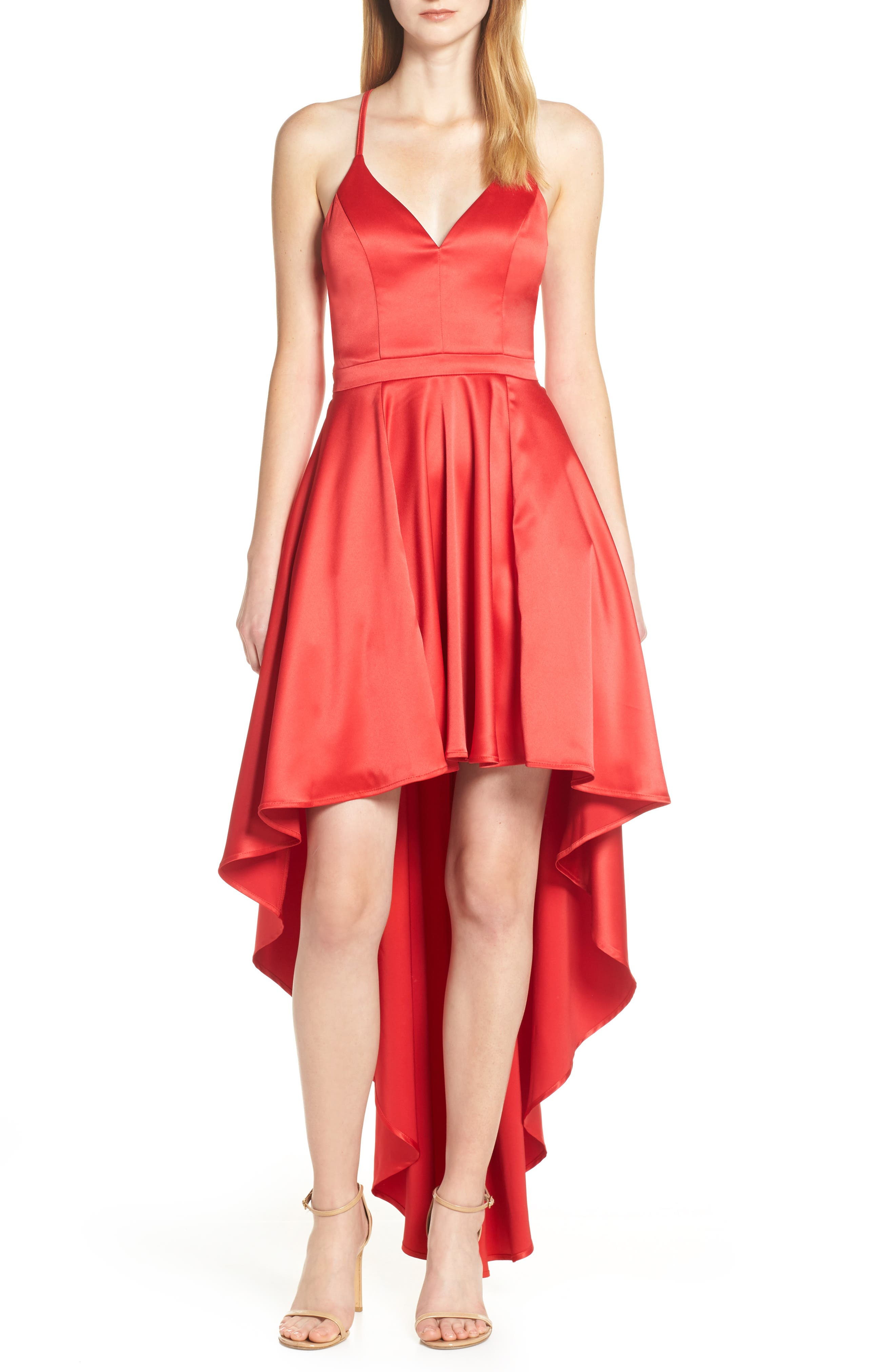 Sequin Hearts High/low Satin Evening Dress, Red