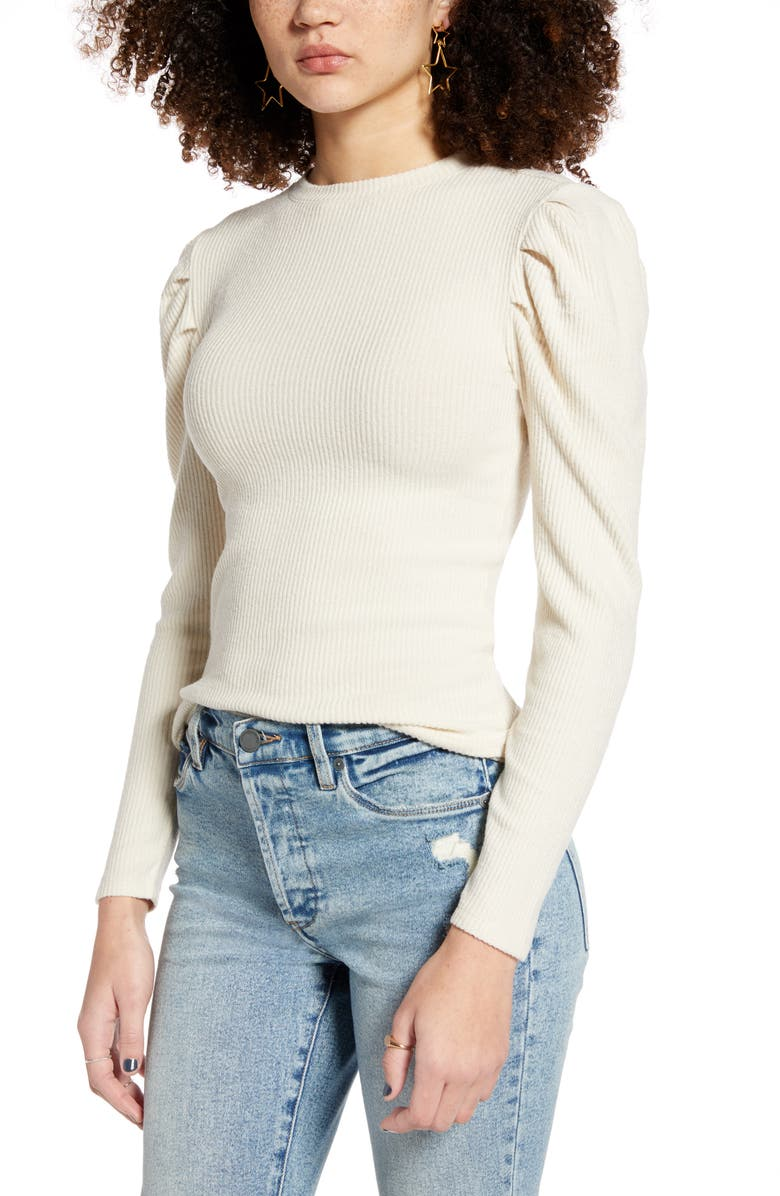 BP. Cozy Puff Sleeve Top, Main, color, IVORY
