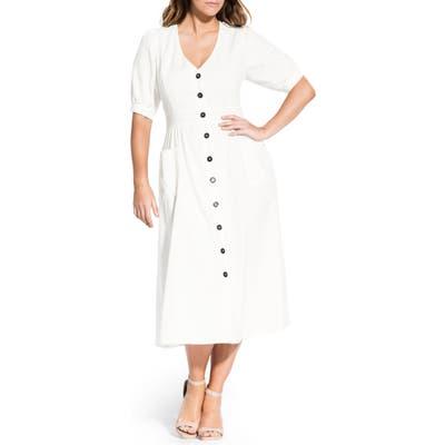 Plus Size City Chic Luca Button-Up Linen & Cotton Dress, Ivory