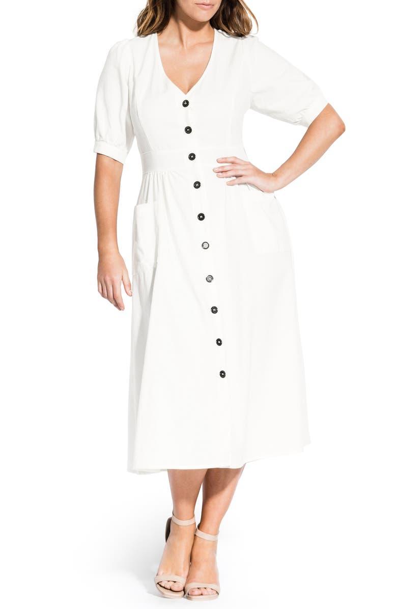 CITY CHIC Luca Button-Up Linen & Cotton Dress, Main, color, IVORY