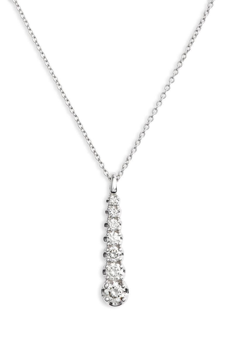 DANA REBECCA DESIGNS Vivian Lily Diamond Drop Necklace, Main, color, WHITE GOLD/ DIAMOND